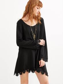 Black Crochet Trim Shift Dress
