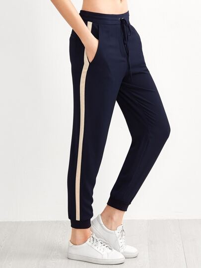 Navy Striped Side Seam Ribbed Hem Drawstring Pants