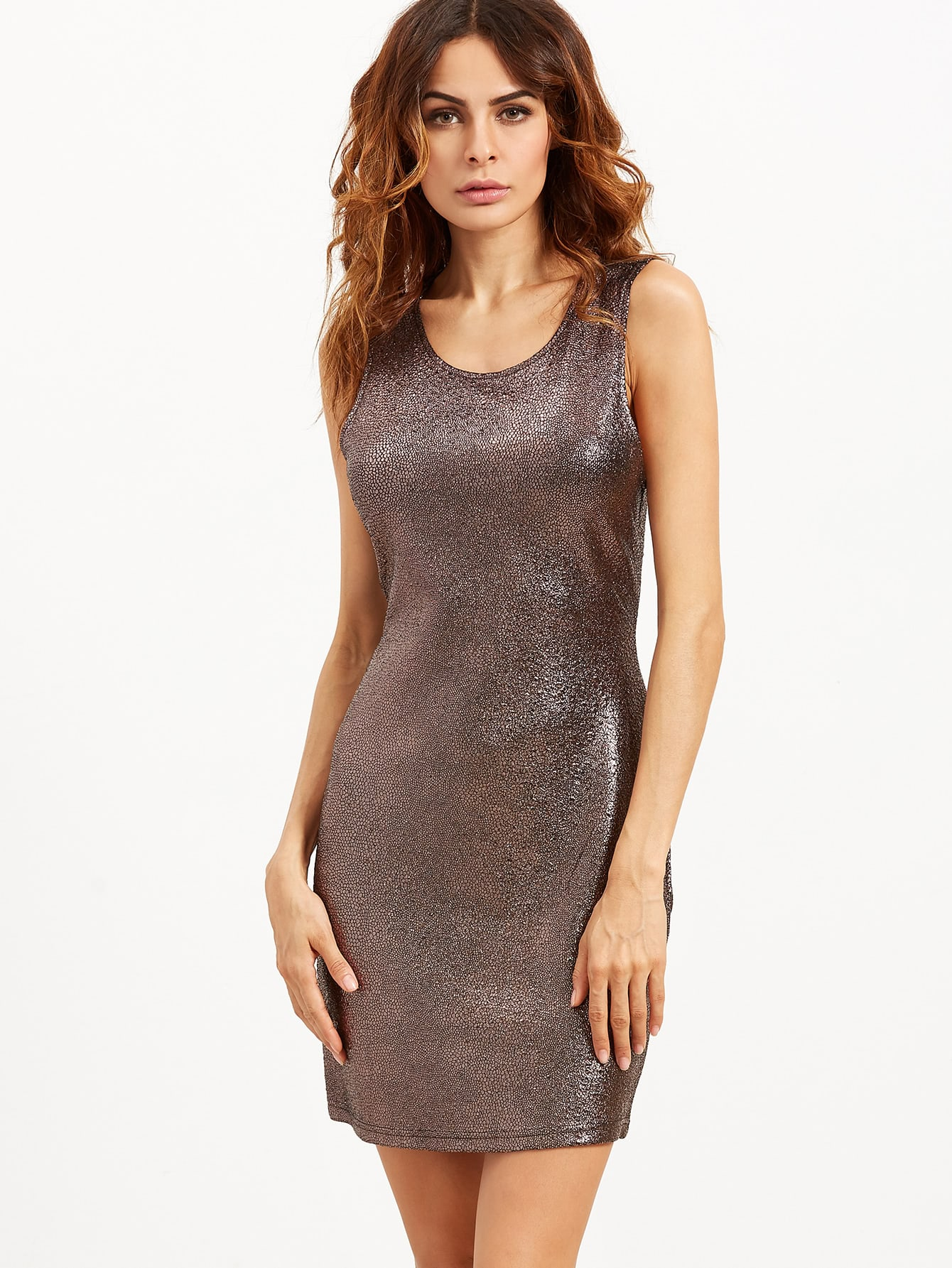 Фото Brown Sleeveless Metallic Bodycon Dress. Купить с доставкой