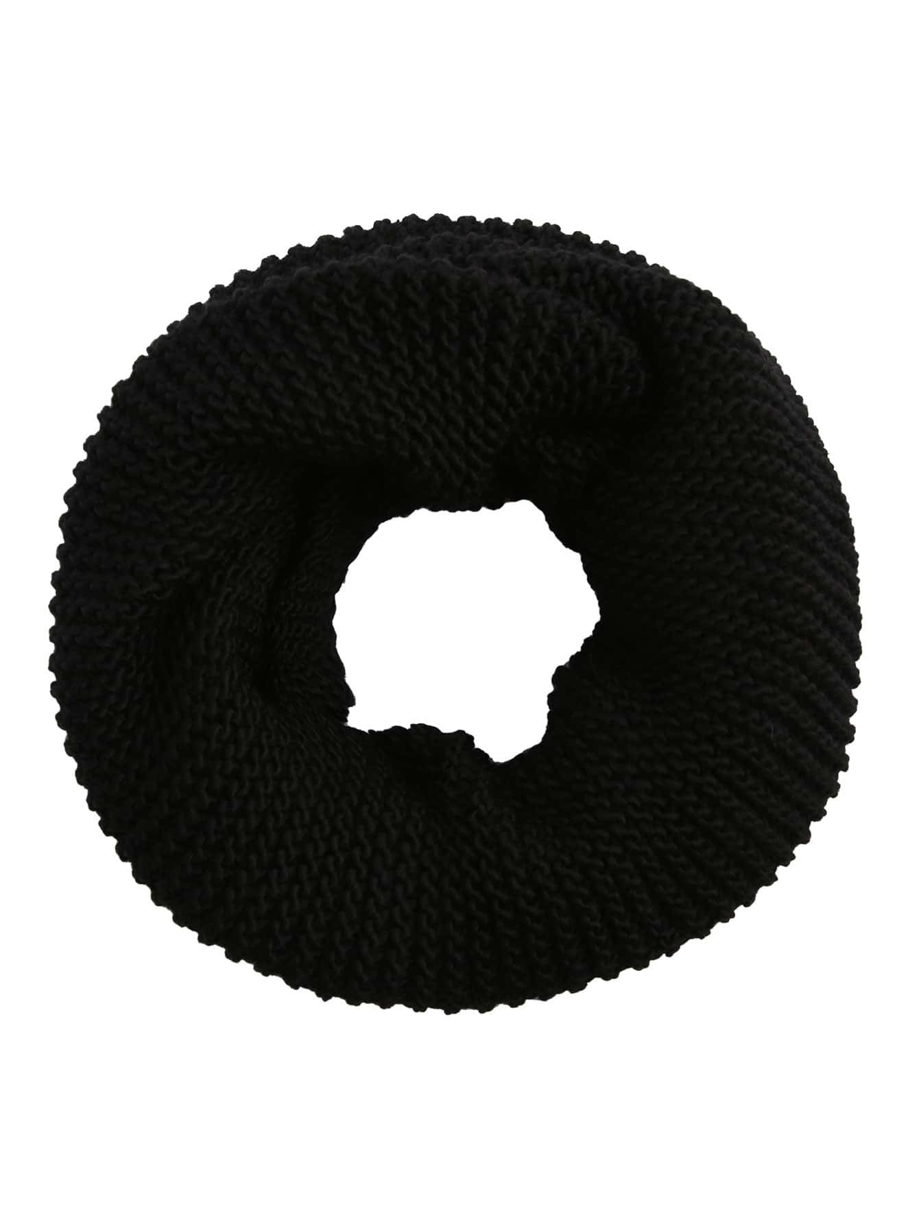 Black Ribbed Knit Infinity Scarf scarf160910302