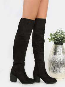 Over the Knee Stacked Heel Boots BLACK