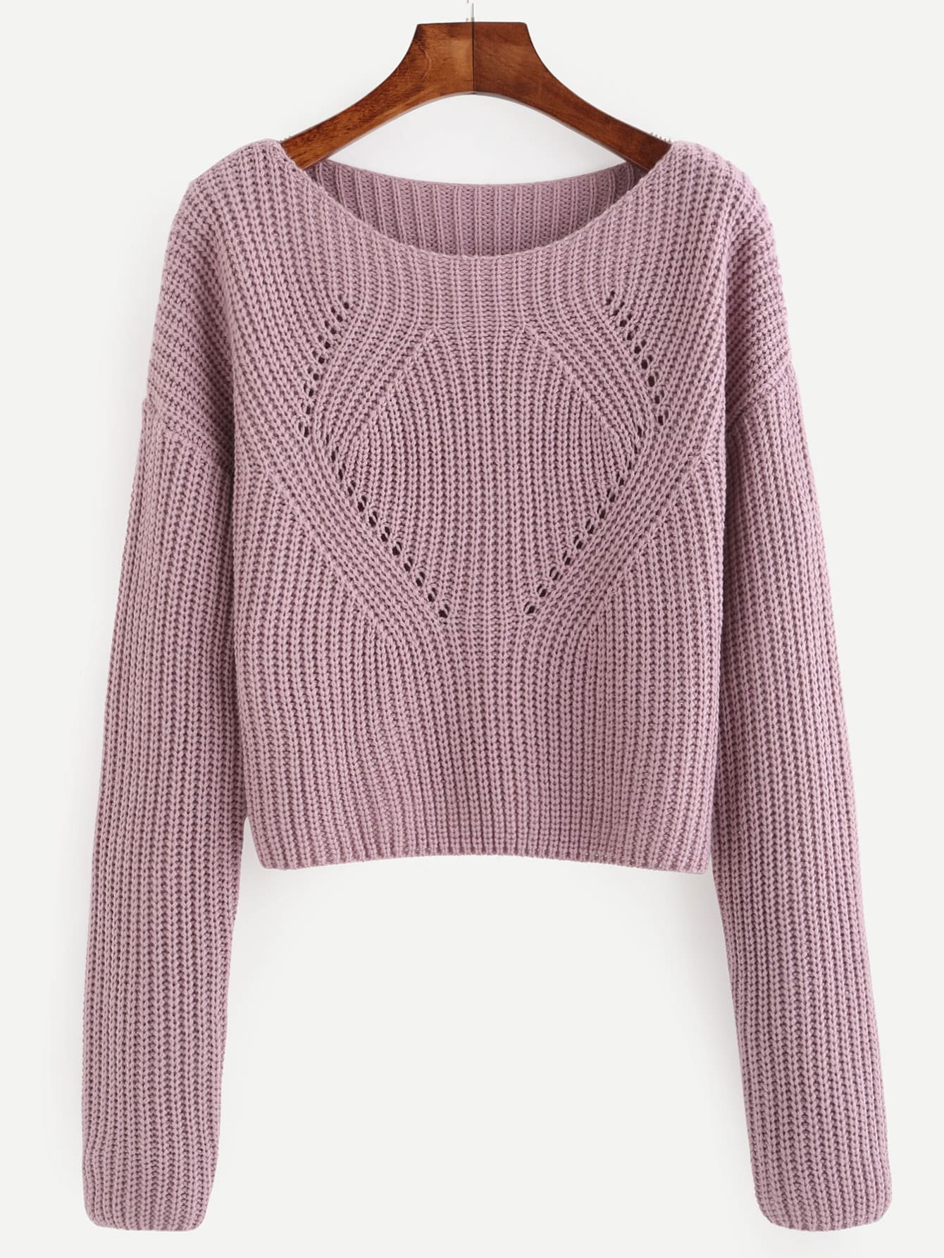 Pale Purple Hollow Out Long Sleeve Sweater sweater160915404