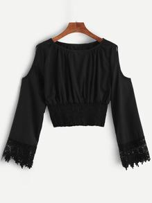 Black Open Shoulder Crochet Cuff Shirred Blouse