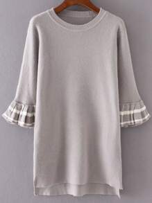 Grey Flare Sleeve High Low Sweater Dress