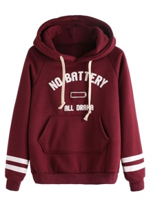 Burgundy Letters Print Pocket Hooded Sweatshirt