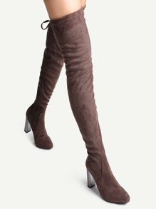 Brown Faux Suede Point Toe Side Zipper Over The Knee Boots