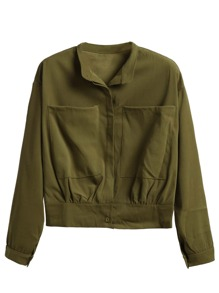 Army Green Stand Collar Pockets Jacket