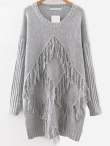 Grey Drop Shoulder Fringe Detail Sweater Dress