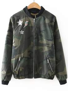 Army Green Camouflage Zipper Up Jacket