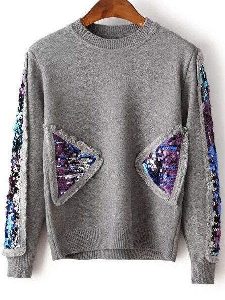 Фото Grey Sequin Detail Crew Neck Sweater. Купить с доставкой