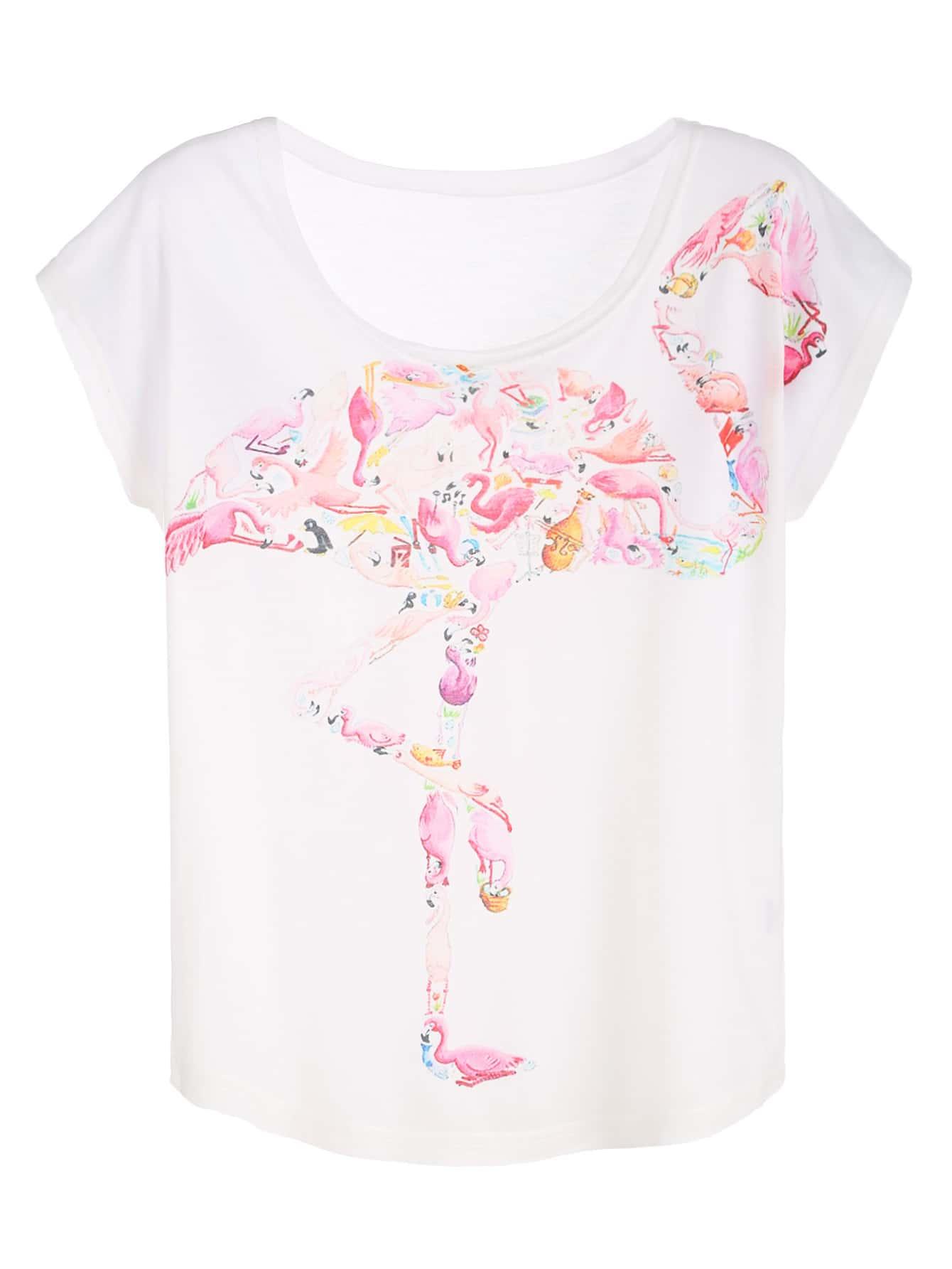 White Flamingo Print T Shirt Shein Sheinside