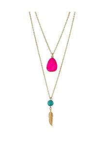Hotpink Boho Style Double Layer Artificial Turquoise Feather Pendand Necklace