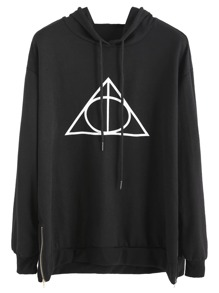 Black Geo Print Zip Side Hooded Sweatshirt