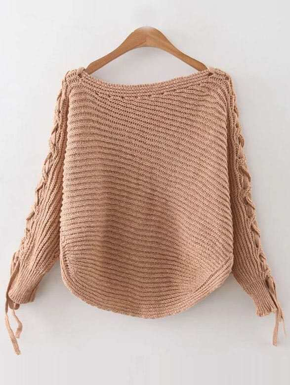 Khaki Ribbed Lace Up Sleeve Loose Sweater sweater160909220