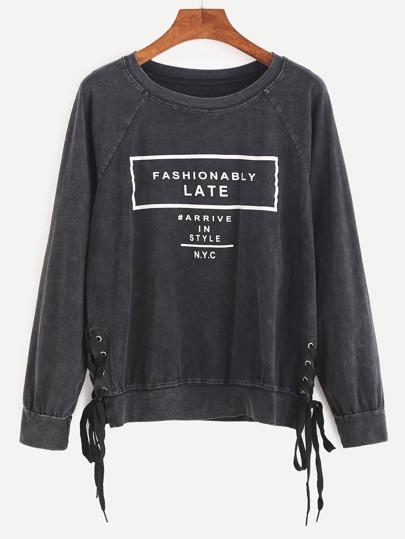 Letter Print Raglan Sleeve Lace Up Side Sweatshirt