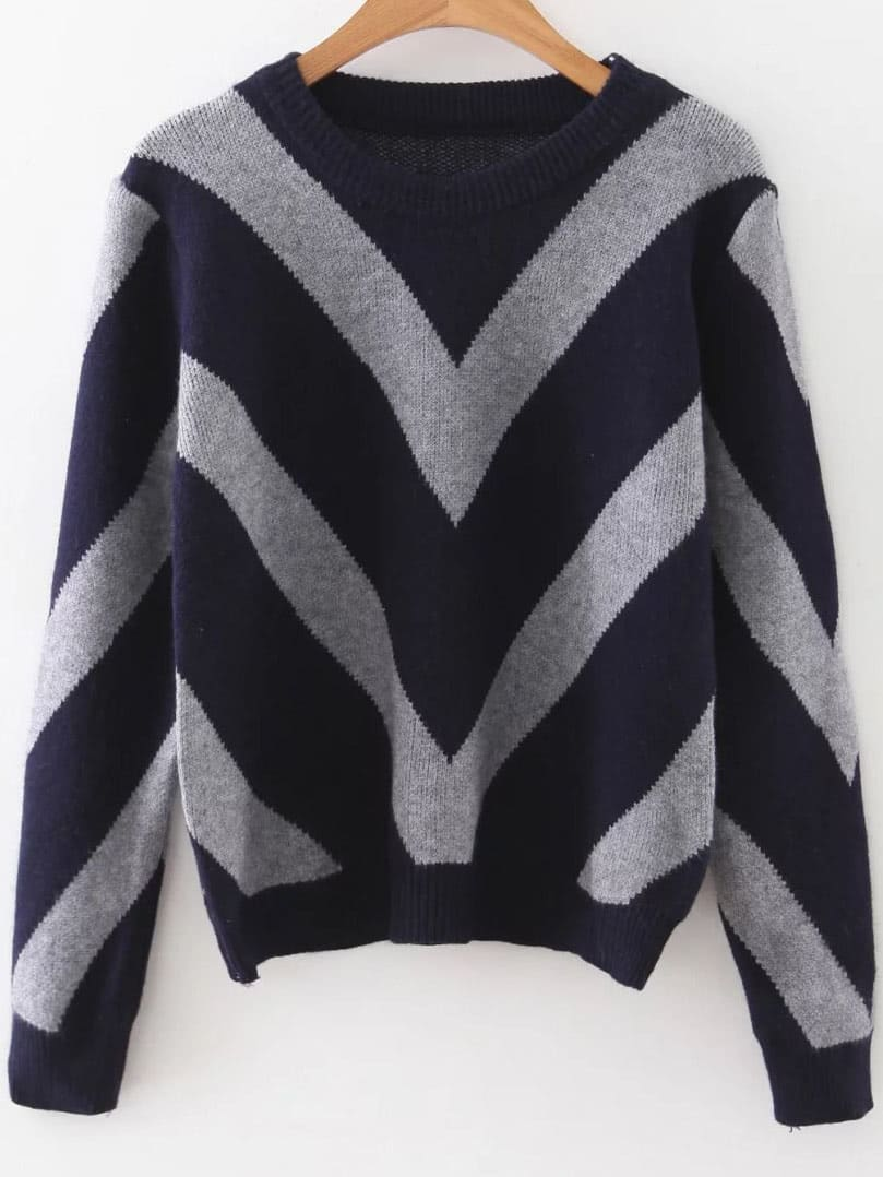 Navy Chevron Pattern Ribbed Trim Sweater sweater160920217