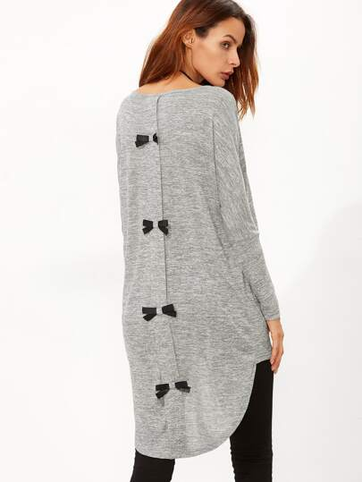 Grey Marled Knit Bow Back High Low T-shirt