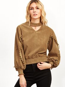 Cut Out Neck Lantern Sleeve Elastic Hem Pompom Top
