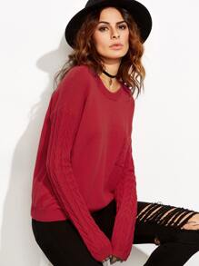 Red Drop Shoulder Cable Knit Sleeve And Pocket Sweater