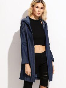 Dark Blue Drop Shoulder Hooded Denim Coat