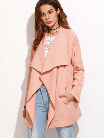 Pink Drape Collar Drop Shoulder Coat