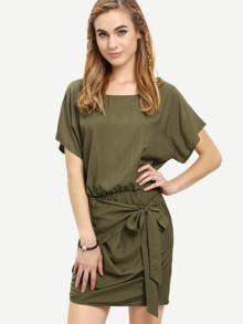 Army Green Round Neck Tie Waist Asymmetrical Dress