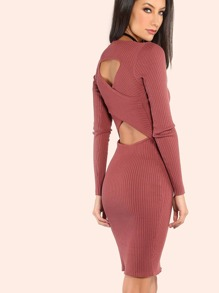 Low Cross Back Sleeved Rib Knit Dress RUST