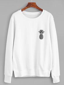 White Pineapple Print Sweatshirt