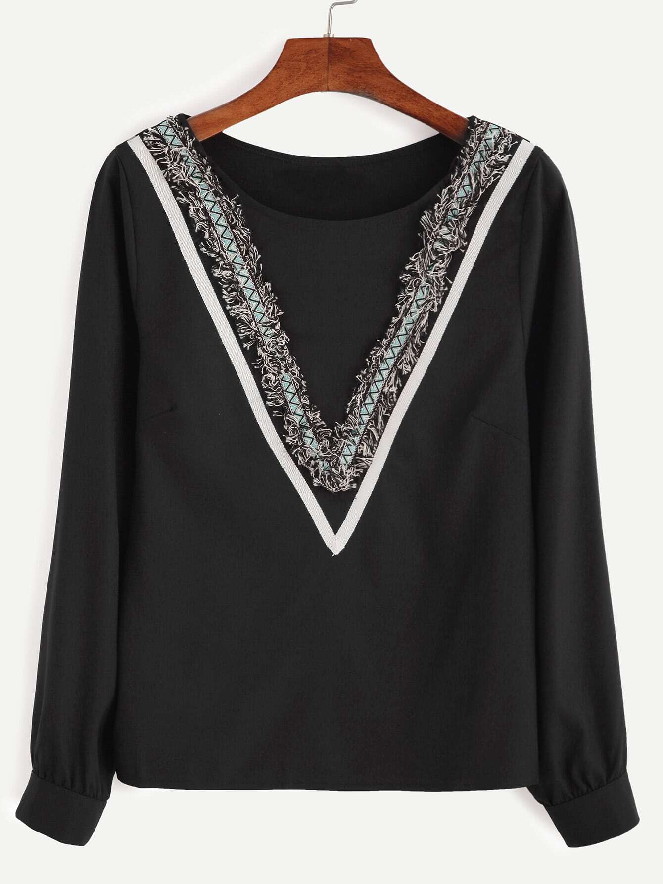 Black Embroidered Tape Detail Fringe Blouse blouse160928301
