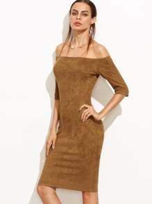 Camel Suede Off The Shoulder Pencil Dress