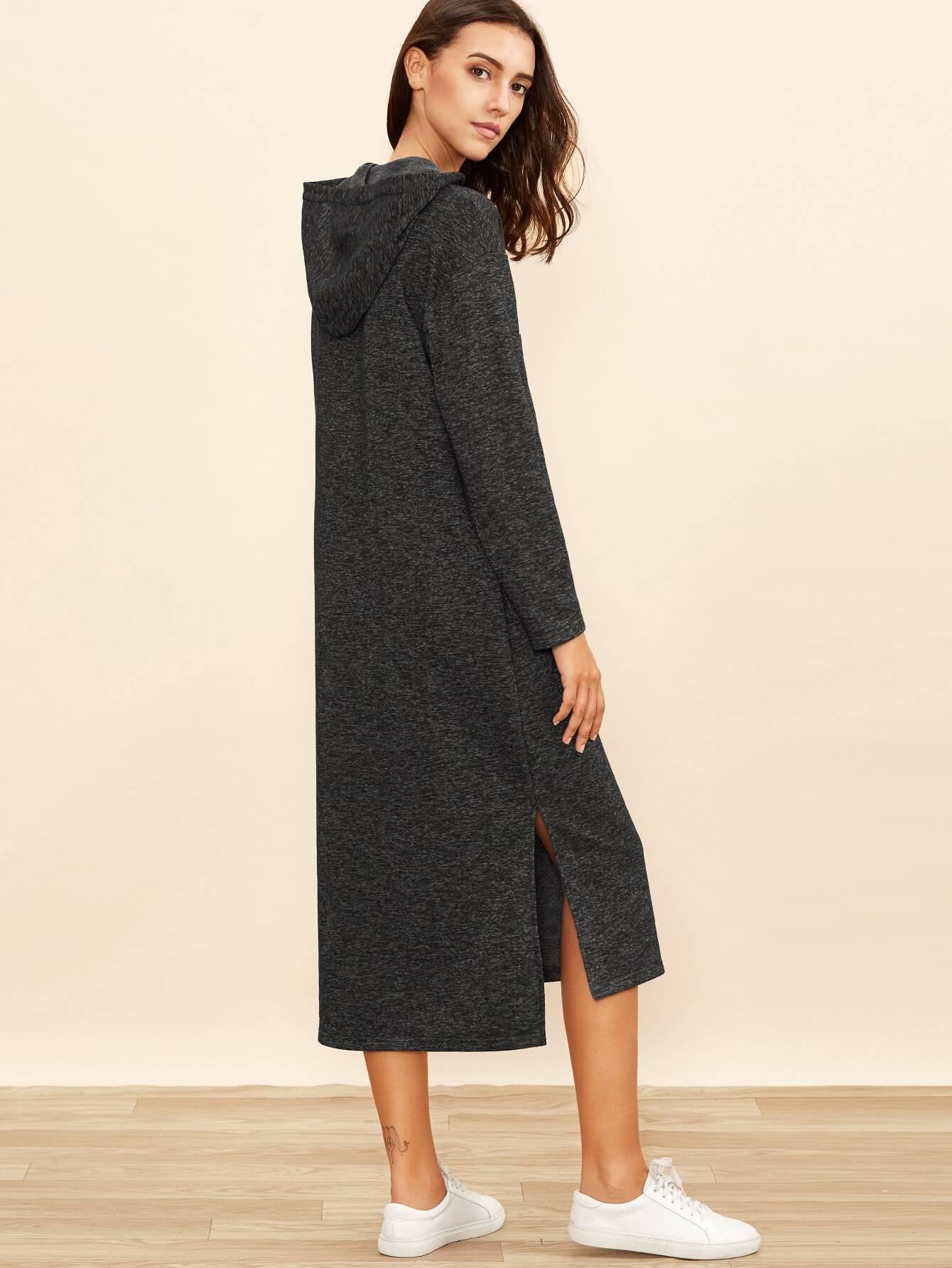 Hoodie kleid side slit buchstaben druck dunkelschwarz - Sweatshirt kleid lang ...