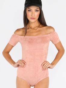 Body acanalado con hombros al aire - rosa
