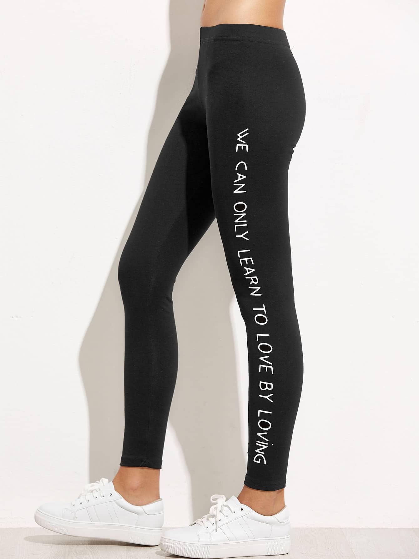 Black Slogan Print Leggings