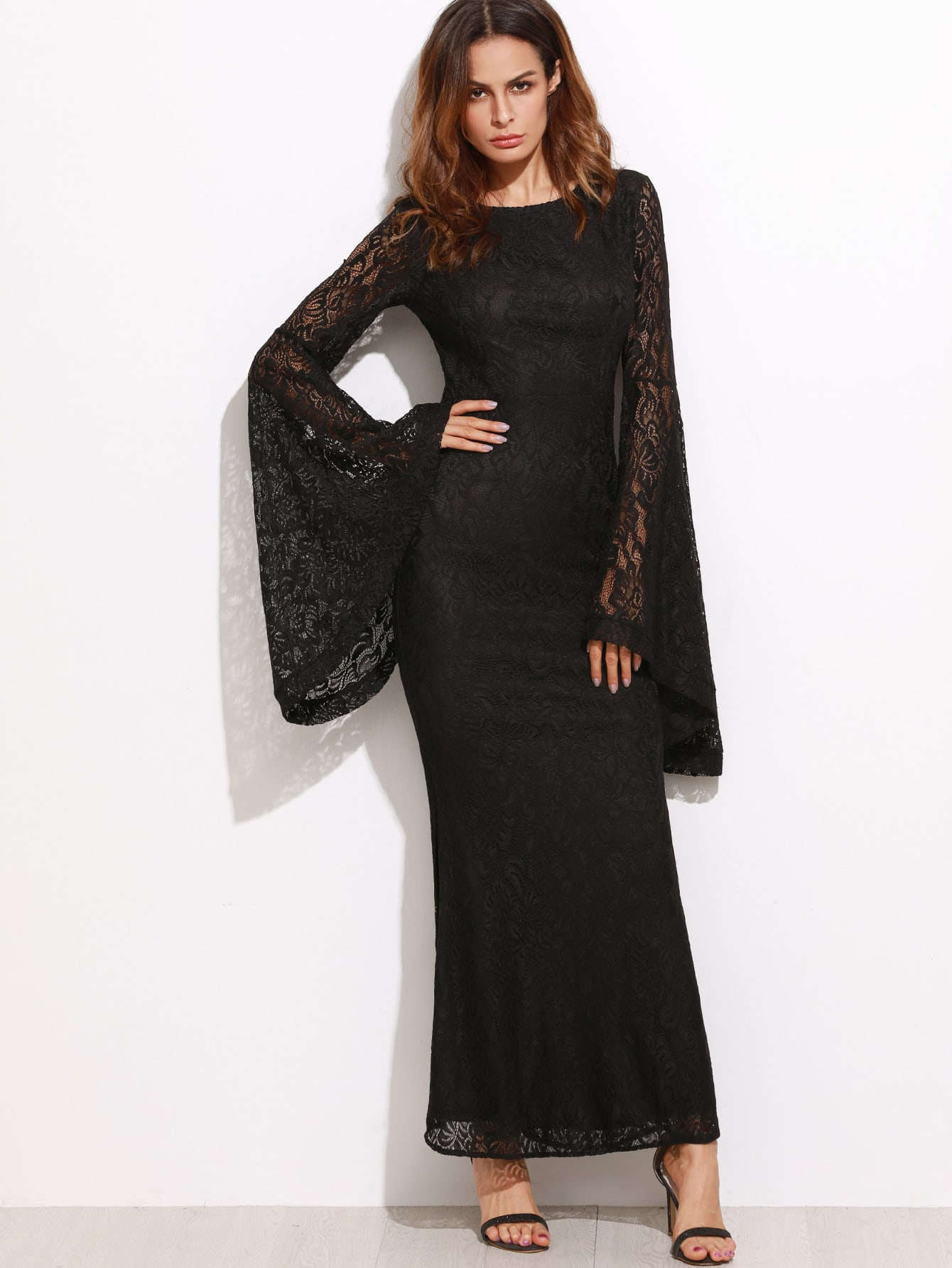 Oversized Bell Sleeve Floral Lace Dress bell sleeve floral lace kimono
