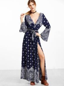 Navy Ornate Print Bell Sleeve Wrap Dress With Belt
