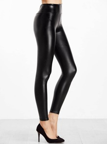 Black Dark Pattern PU Leather Leggings