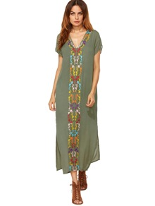 Army Green Placement Print Split Side Maxi Dress