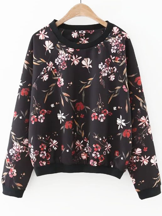 Black Floral Print Raglan Sleeve Sweatshirt sweatshirt160909202