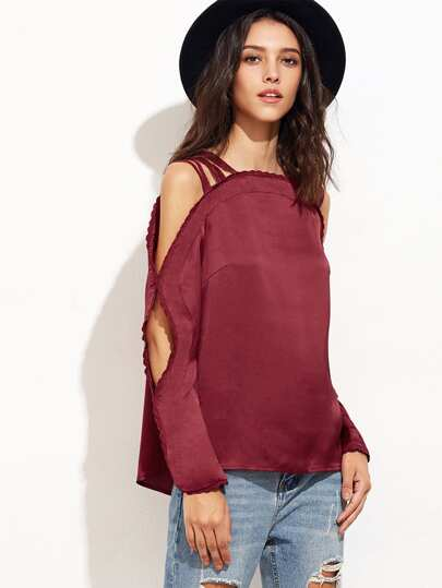 Burgundy Lace Trim Strappy Cold Shoulder Satin Top