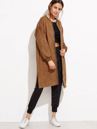 Khaki Slit Side Zip Front Suede Coat