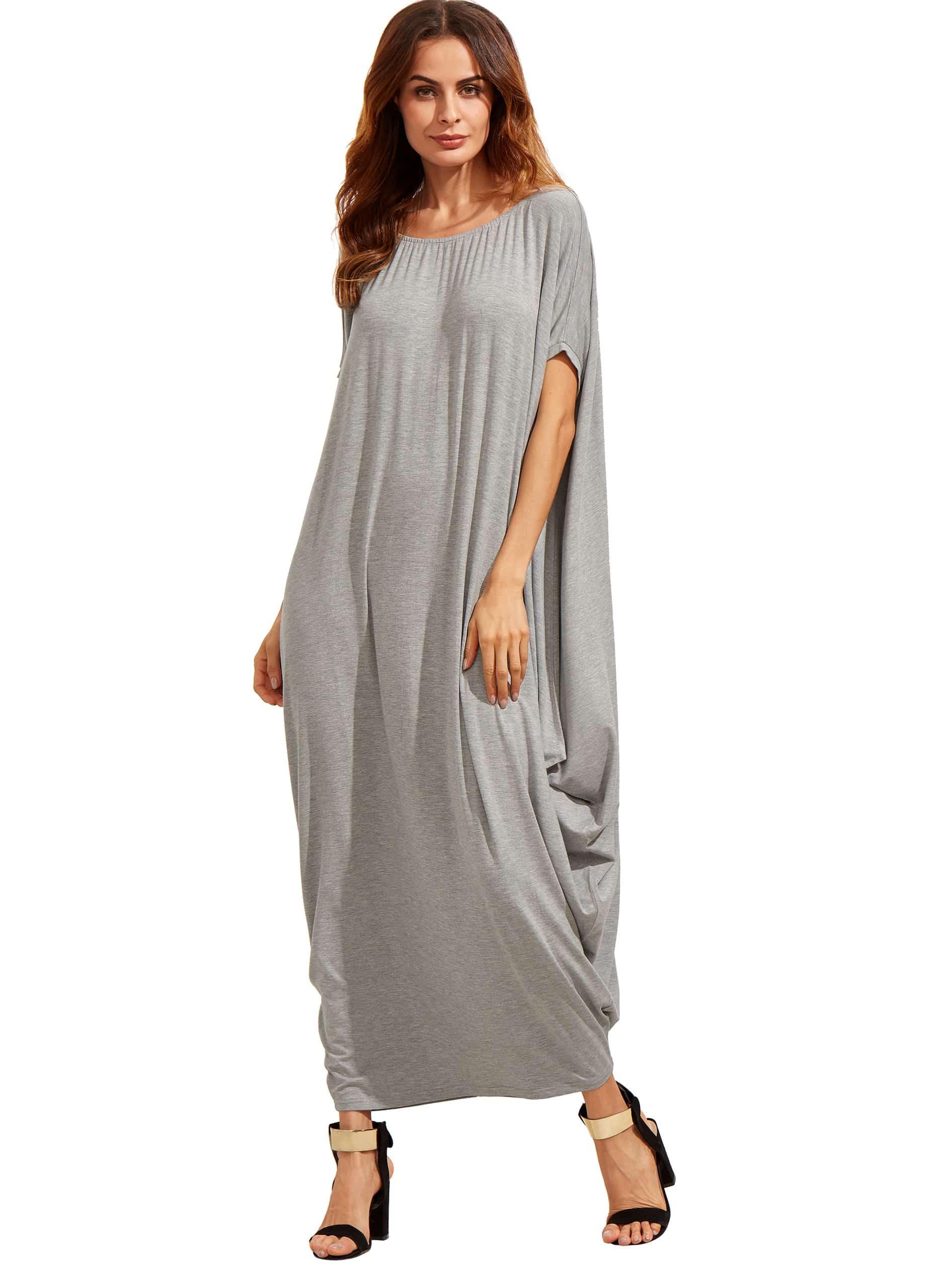 Light grey one shoulder dolman sleeve maxi dress shein for Dolman sleeve wedding dress
