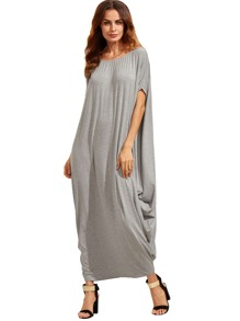 Light Grey One Shoulder Dolman Sleeve Maxi Dress