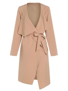 Apricot Lapel with Pocket Long Outerwear