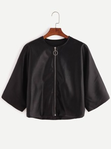 Black Zipper Crop Jacket
