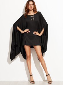 Black Drape Oversized Asymmetric Poncho Dress