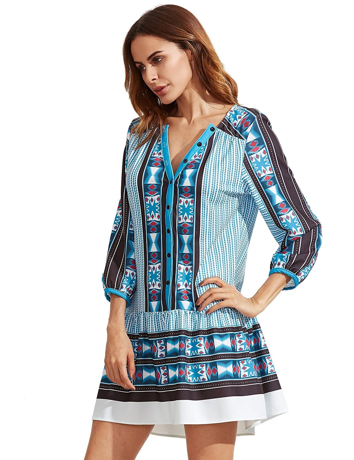 Фото Blue V Neck Vintage Print Tunic Dress. Купить с доставкой