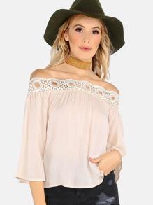 Open Shoulder Lace Applique Top CREAM
