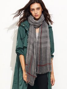 Grey Eyelash Fringe Stripe Scarf