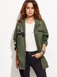 Army Green Patch Zipper Coat With Drawstring