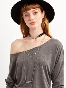 Silver Chain Layered Pendant Choker Necklace